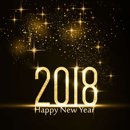 Gold glitter 2018 on dark with light effects with the text Happy New Year.