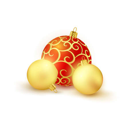 2 golden and 1 red golden patterned Christmas baubles isolated on white backdrop. Illustration