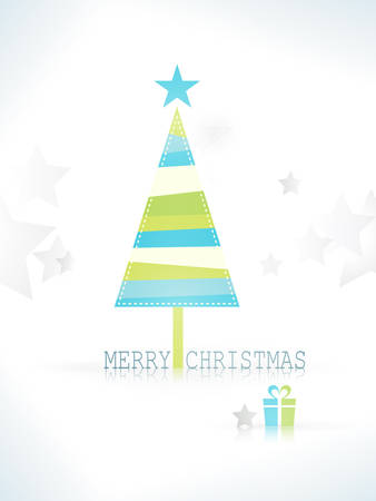Christmas background with simple geometric shapes star and triangle forming a modern,  the wording Merry Christmas and an unobtrusive background pattern. Illustration
