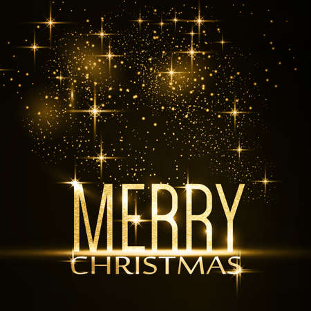 Gold glitter Merry Christmas on dark background with light effects and sparkling stars for a festive Christmas feeling.