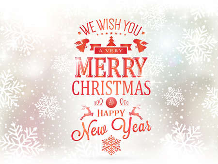 Festive background with snowfall and light effects and the wording Merry Christmas and Happy New Year.