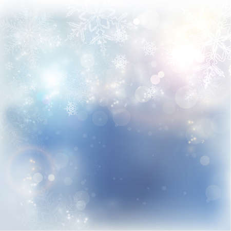 Abstract blue white background with snow flakes, blurry light dots, light effect background with copy space  for the coming winter and Christmas season.