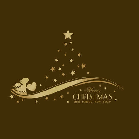 A Christmas tree made of golden stars with an angel with heart on a swirly wave line and the wording Merry Christmas and Happy New Year on dark background. Illustration
