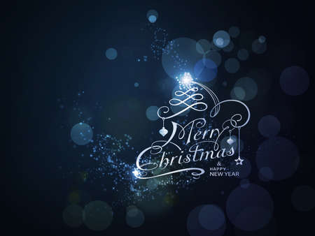 Sparkling Merry Christmas and Happy New Year typography with light effects on dark blue background Illustration