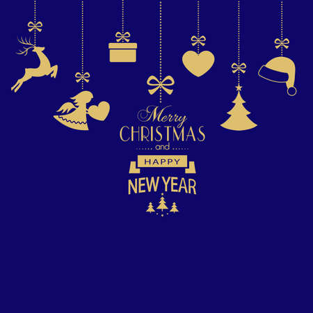 Various golden Christmas ornaments such as Christmas bauble, Santa hat, reindeer, angel, heart, present and Christmas tree hangig with a ribbon forming a versatile border  on dark blue background.