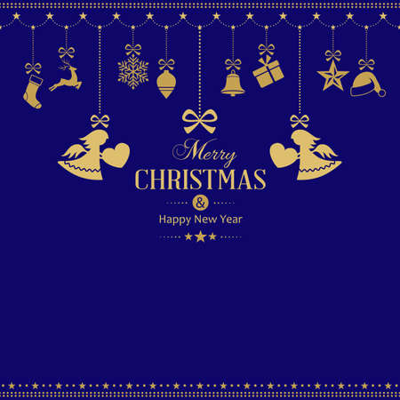 Set of golden hanging Christmas ornaments with a ribbon and 2 Christmas angels with a love heart framing the text Merry Christmas and Happy New Year on a dark blue background.