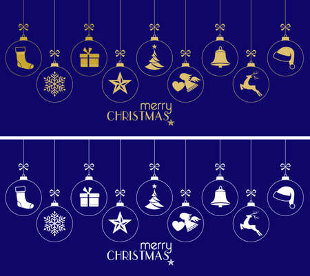 Set of hanging Christmas balls with ornaments such as Christmas tree, Santa hat, reindeer, angel, stocking, present, Christmas star and bell with a ribbon forming a versatile border isolated on dark blue. Illustration