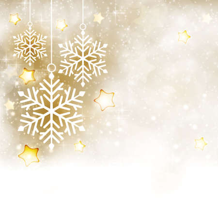 Soft and dreamy background with snowfall and blurry light dots. Focal point are a set of white hanging snowflakes surrounded by golden shiny stars.