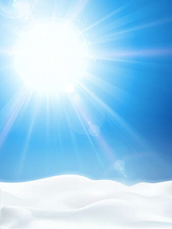 Winter background with bright sun shining in a clear blue sky and snowy landscape