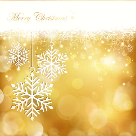 Golden blurry light dots background with snowflake border at the top and a set of 3 big snowflakes hanging on the left hand side.