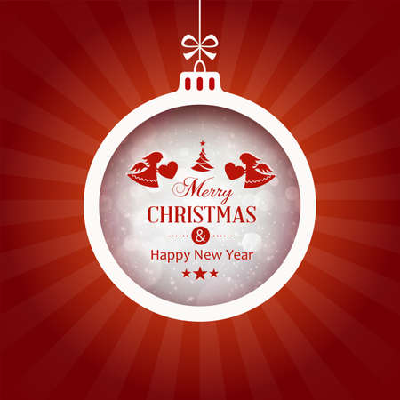 Christmas ball with the wording Merry Christmas and Happy New Year centered on red background Illustration