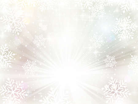 Soft silvery textured winter background a light burst and snowfall decorated with snowflakes, blurry light dots and various light effects for a festive feeling for the magic winter, Christmas season.