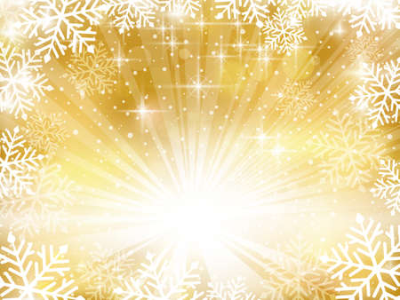 Abstract backgound in shades of gold with a snowflake border, stars, a light burst and blurry bokeh lights for a festive Christmas background and space for your text. Illustration