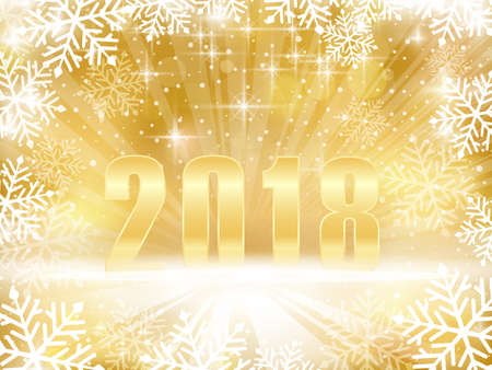 Abstract backgound in shades of gold with a snowflake border, stars, a light burst, blurry bokeh lights and a bold golden 2018 for a festive New Years, Christmas background. Illustration