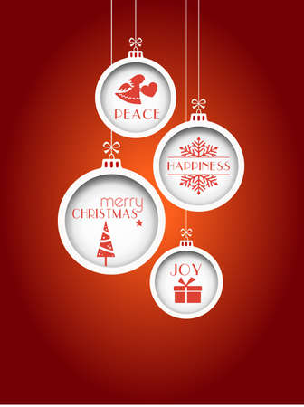 Set of 4 hanging Christmas baubles with Christmas tree, snowflake and angel and the words, joy, peace, happiness and Merry Christmas on red background Illustration