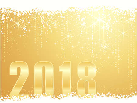 Bold golden 2018 in the foreground behind a snow border with a golden stars light dot background