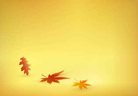 Three brightly colored fall leaves on a solid yellow background