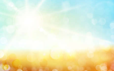 Autumn background, blurred light dots, blue sky with sun rays. Great background for any nature theme.