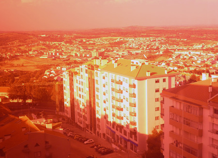 Urban landscape in shades of pink