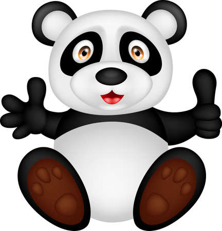 illustration of baby panda with thumb up Çizim