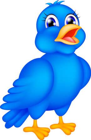 pajaro azul: ilustraci�n vectorial de p�jaro azul feliz