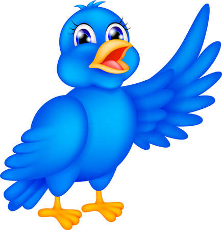 young bird:  illustration of happy blue bird waving wings Illustration