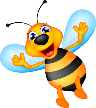 illustration of cute bee caroon Vector