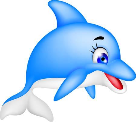 dauphin: illustration de bande dessinée de dauphin drôle