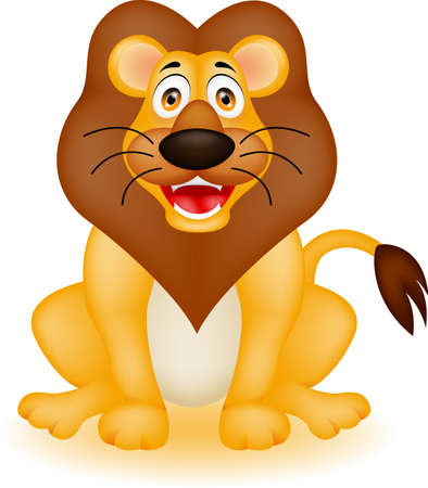 vector illustration of funny lion cartoon Vector