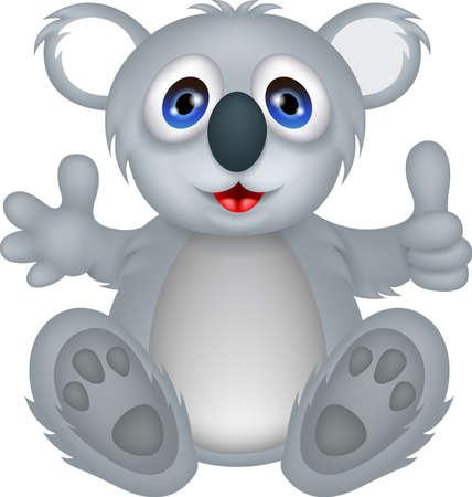illustration of funny koala cartoon with thumb up