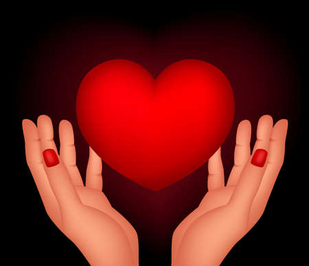 illustration of red heart and hands Stock Vector - 17564836
