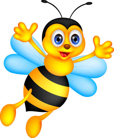 abeja reina: ilustración vectorial de dibujos animados divertido de la abeja Vectores