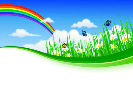 nature background with grass and flowers Illustration