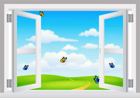 cielos abiertos: Abra la ventana blanca con el paisaje