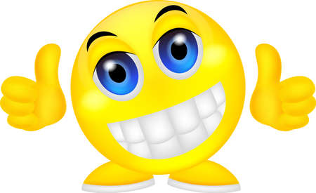 vector illustration of Smiley emoticon with thumb up Illustration