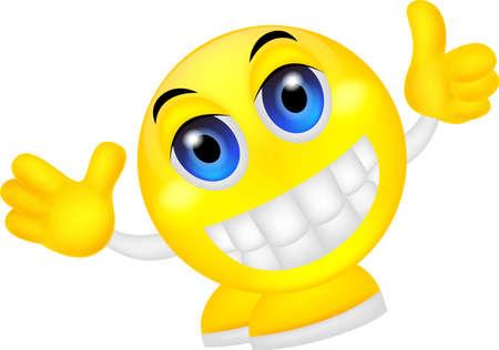 waving hand: vector illustration of Smiley emoticon waving hand