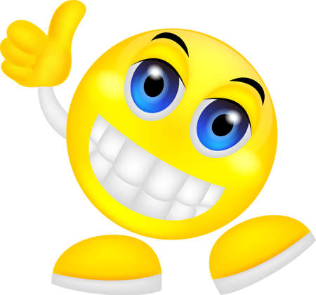 vector illustration of Smiley emoticon with thumb up Çizim