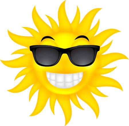 vector illustration of happy summer sun with glasses Vector