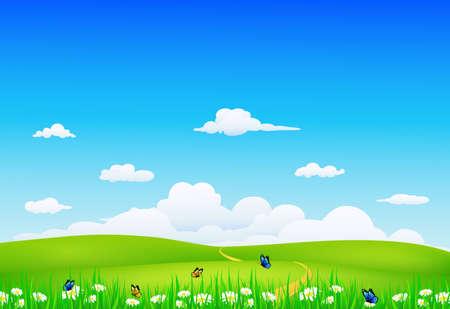 prato e cielo: natura, paesaggio,