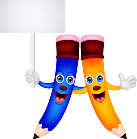 Happy pencil couple cartoon with blank sign Vector
