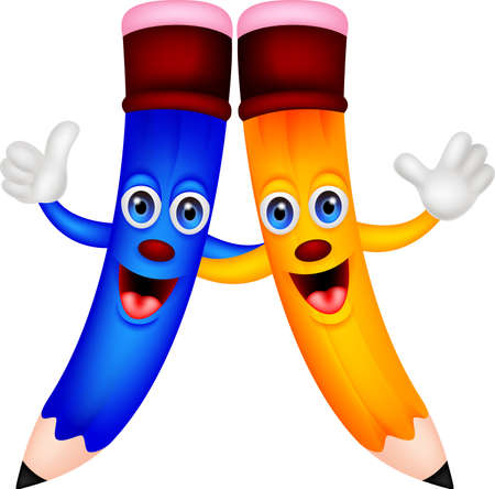 Happy pencil couple cartoon