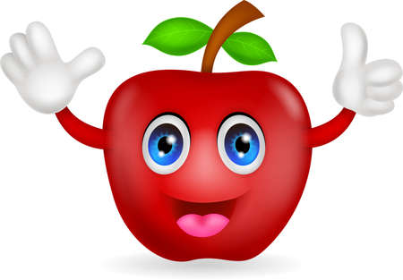 thumbs up sign: red apple cartoon