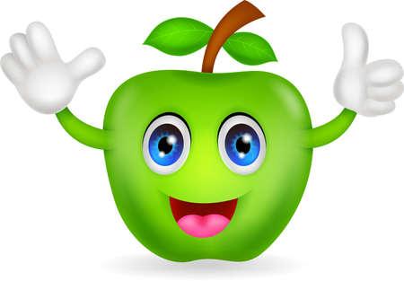 green apple cartoon Stock Vector - 20386554