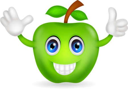 green apple cartoon Illustration