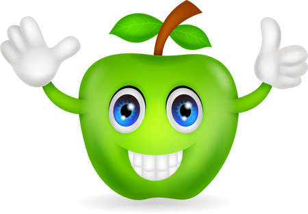 apple cartoon: green apple cartoon Illustration