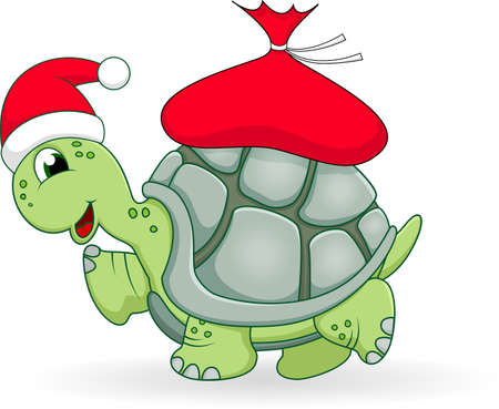 Christmas turtle cartoon Çizim