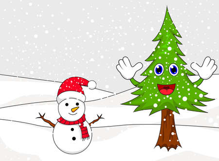 Christmas Snowman with spruce Vector