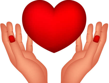 red heart and hands Çizim
