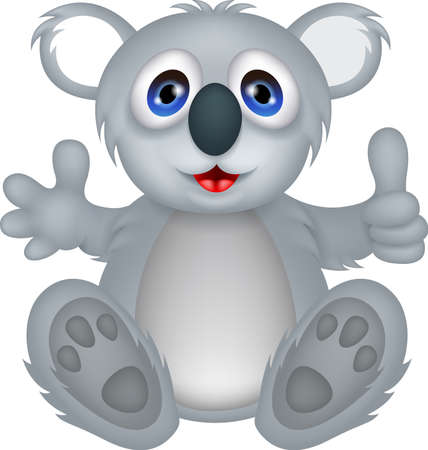 funny koala cartoon with thumb up Çizim