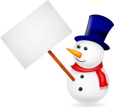 Happy snowman with blank sign Çizim